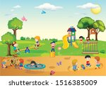children are playing in the... | Shutterstock . vector #1516385009
