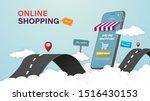 online shopping on website or... | Shutterstock .eps vector #1516430153