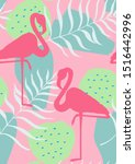 pink cute flamingo and palm... | Shutterstock .eps vector #1516442996
