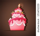 birthday cake with meringues ... | Shutterstock .eps vector #151651223