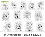 Cartoon Cute Monsters  Set Of...