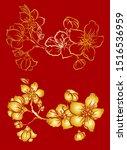 free hand sakura flower vector... | Shutterstock .eps vector #1516536959