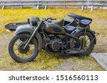 Old Military Motor Bike. Two...
