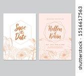 wedding invitation card...   Shutterstock . vector #1516617563