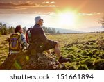 seniors hiking in nature on an... | Shutterstock . vector #151661894