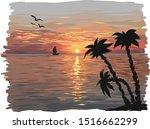 Sunset Or Dawn At Sea. The Sun...
