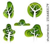 set of abstract cartoon green... | Shutterstock .eps vector #1516683179