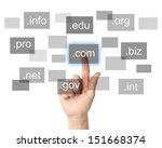 Hand pushing virtual domain name on white background, internet concept  - stock photo