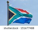 South African Flag Flapping In...
