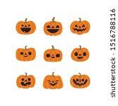 halloween pumpkins collection.... | Shutterstock .eps vector #1516788116