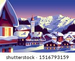 christmas landscape with a... | Shutterstock .eps vector #1516793159