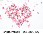 Stock photo heart rose petals pink roses heart shaped frame petals love concept 1516808429
