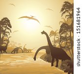 dinosaurs on tropical jurassic... | Shutterstock .eps vector #151681964