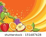 fruits background.vector color... | Shutterstock .eps vector #151687628