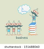 businessman standing on a pile... | Shutterstock .eps vector #151688060