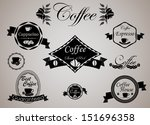 set of vintage retro coffee... | Shutterstock .eps vector #151696358