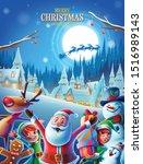 christmas poster with santa... | Shutterstock .eps vector #1516989143