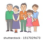 family of five standing in front | Shutterstock . vector #1517029673