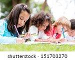 happy group of children...   Shutterstock . vector #151703270