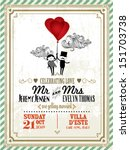 vintage wedding invitation card template with boy and girl holding balloons vector/illustration