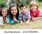 happy group of kids playing at... | Shutterstock . vector #151705490