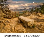 Park Bench In Rocky Mountain...