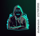 man in hoodie with neon mask ... | Shutterstock .eps vector #1517093900