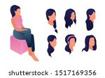3d isometric woman sitting with ... | Shutterstock .eps vector #1517169356
