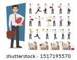 set of businessman character... | Shutterstock .eps vector #1517195570