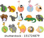 Stock vector set of cute cartoon animals 151724879