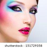 beautiful woman with fashion... | Shutterstock . vector #151729358