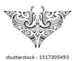manta ray maori tattoo ornament | Shutterstock .eps vector #1517305493