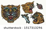 tigers. old school tattoo... | Shutterstock .eps vector #1517313296