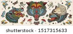 wolf head. old school tattoo... | Shutterstock .eps vector #1517315633