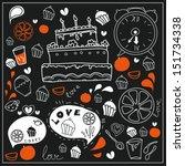tea  sweets  cake  doodle... | Shutterstock .eps vector #151734338