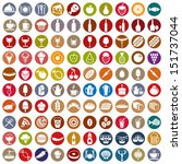 100 food and drink icons set ... | Shutterstock .eps vector #151737044