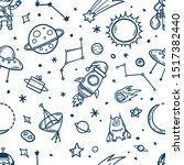 space elements hand drawn... | Shutterstock .eps vector #1517382440