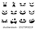 scary halloween pumpkin faces... | Shutterstock .eps vector #1517393219
