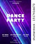 Stock vector dance club party poster vector background template with particles lines highlight and modern 1517416673