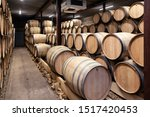 Wooden Wine Oak Barrels Stacke...