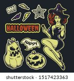 vector set of stickers with a... | Shutterstock .eps vector #1517423363