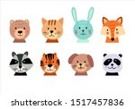 cute animal hand drawn faces... | Shutterstock .eps vector #1517457836