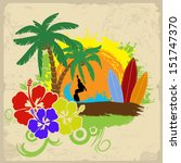 tropical poster with a surfer ... | Shutterstock .eps vector #151747370