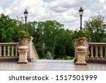 Pedestals With Stone Flowerpot...