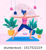 woman doing yoga at home vector ... | Shutterstock .eps vector #1517522219