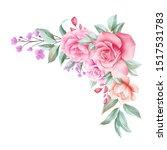 watercolor floral border... | Shutterstock . vector #1517531783
