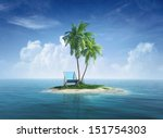desert tropical island with... | Shutterstock . vector #151754303