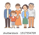 family of five standing in front | Shutterstock . vector #1517554709