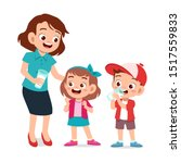 cute happy kids with mom drink... | Shutterstock .eps vector #1517559833