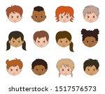 set children faces of different ...   Shutterstock .eps vector #1517576573